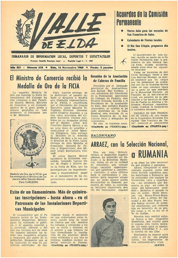 Semanario local, periódicos de Valle de Elda - 1968 - Valle
