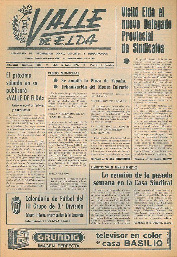 Calendario Julio 1976.Semanario Local Periodicos De Valle De Elda 1976 Valle